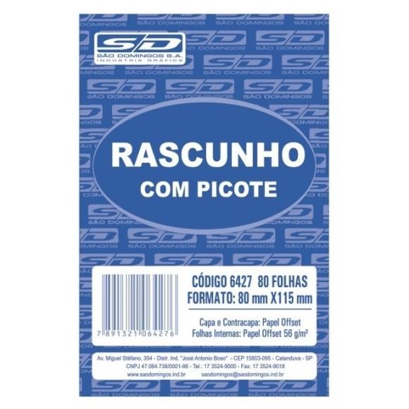BL. RASCUNHO MEDIO BRANCO C/PICOTE C/100 FOLHAS SAO DOMINGOS