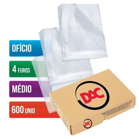 ENVELOPE PLASTICO OFICIO C/4 FUROS C/600 UNIDADES MEDIO 0,10 DAC