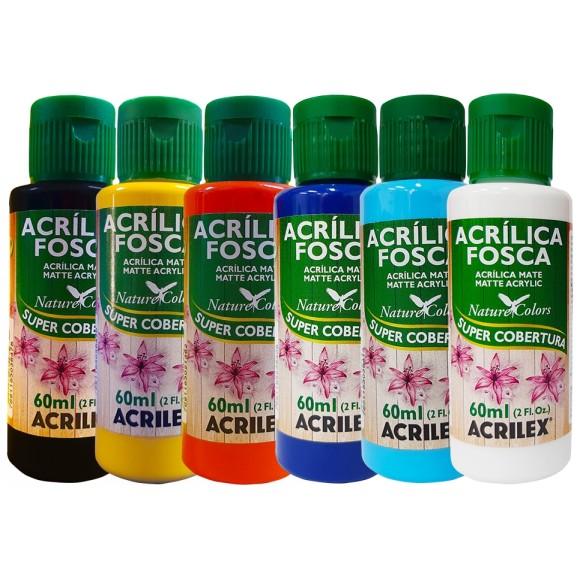 TINTA ACRILICA FOSCA 60ML C/6 CORES ACRILEX