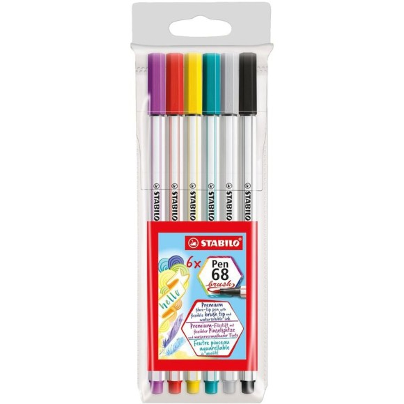 CANETA PINCEL C/6 CORES BRUSH PEN 68 STABILO