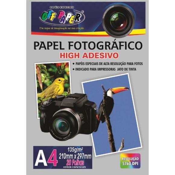 PAPEL FOTOGRAFICO HIGH ADESIVO A4 C/20 FOLHAS OFF PAPER