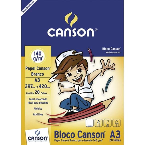 BLOCO CANSON A3 BRANCO C/20 140G/M²