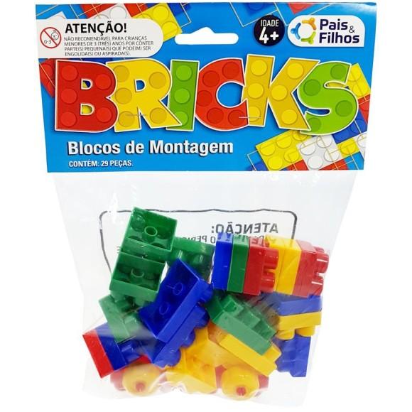 BRINQUEDO BLOCOS DE MONTAGEM C/29 PEÇAS BRICKS PAIS & FILHOS