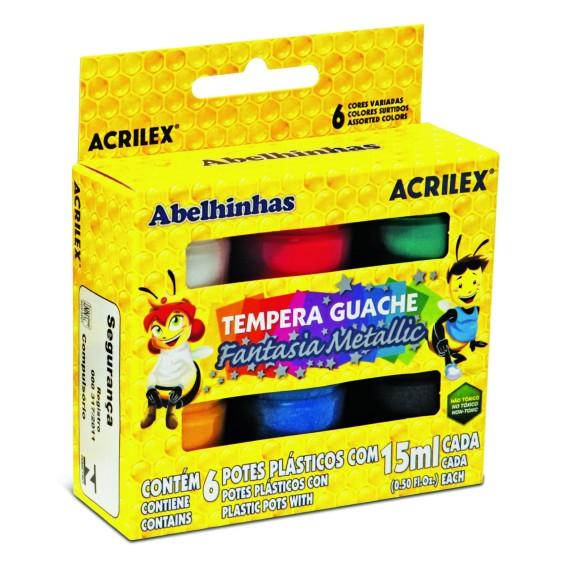 GUACHE 15ML C/6 CORES FANTASIA METALLIC ACRILEX